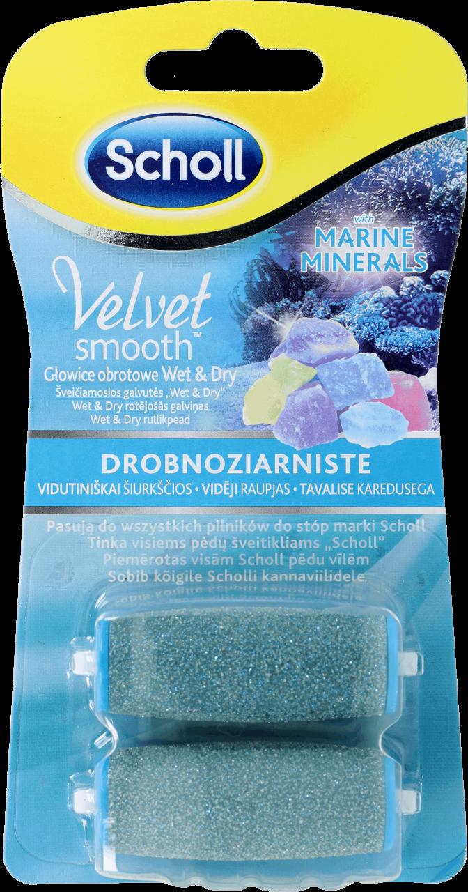 057fa316b65 SCHOLL, Velvet Smooth, drobnoziarniste głowice obrotowe z minerałami  morskimi, wet&dry, 2 szt. - Drogeria Rossmann