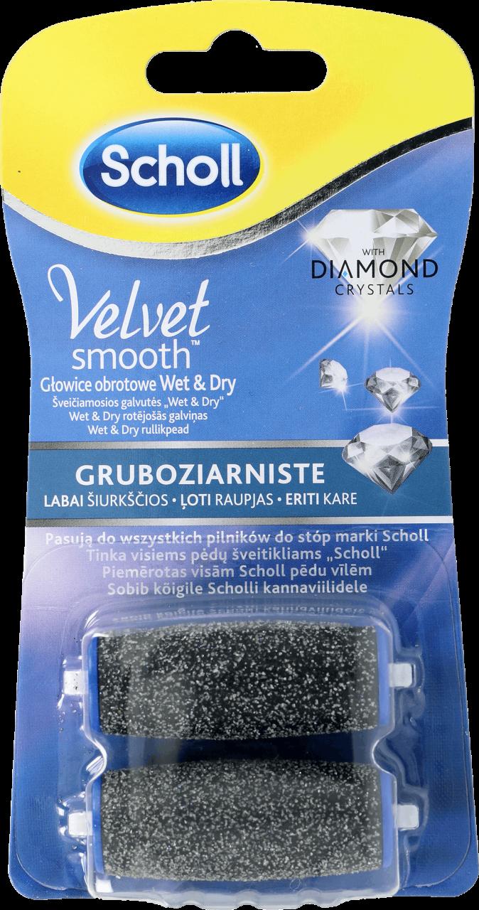 3d6e307096e SCHOLL, Velvet Smooth, gruboziarniste głowice obrotowe z kryształkami  diamentów, wet&dry, 2 szt - Drogeria Rossmann
