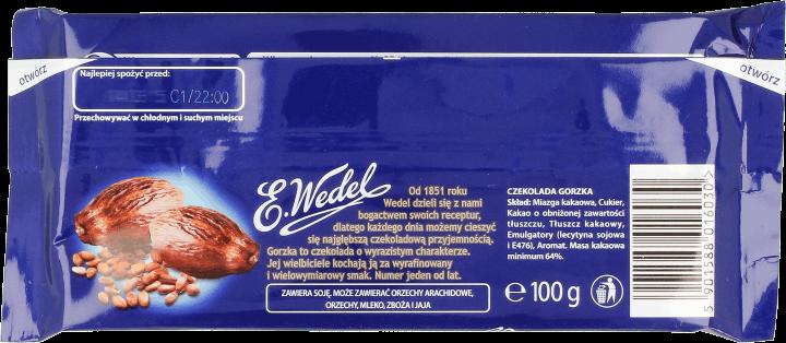 Znalezione obrazy dla zapytania czekolada gorzka wedel