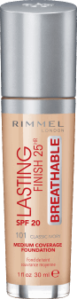 Rimmel, Lasting Finish 25HR Breathable, podkład, SPF 20, 101 Classic Ivory, 30 ml, nr kat. 275368