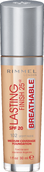 Rimmel, Lasting Finish 25HR Breathable, podkład, SPF 20, 102 Light Nude, 30 ml, nr kat. 275369