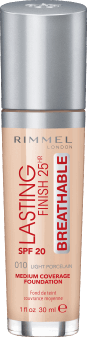 Rimmel, Lasting Finish 25HR Breathable, podkład, SPF 20, 010 Light Porcelain, 30 ml, nr kat. 275366