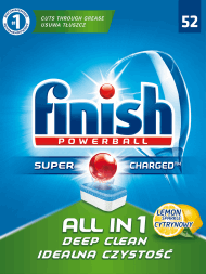 Finish, All in One, tabletki do zmywarki, lemon, 52 szt., nr kat. 76591