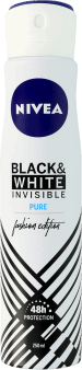 NIVEA, Invisible for Black&White, antyperspirant w sparyu dla kobiet, quick dry, Pure, 250 ml, nr kat. 153822