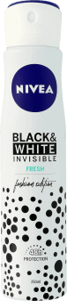 NIVEA, Invisible, antyperspirant w sprayu dla kobiet, Black & White, 250 ml, nr kat. 254925
