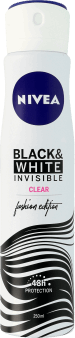 NIVEA, Invisible for Black&White, antyperspirant w sprayu dla kobiet, quick dry, Clear, 250 ml, nr kat. 153811