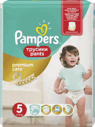 Pampers, Premium Care Pants, pieluchomajtki 5 Junior, 12-18 kg, 20 szt., nr kat. 219157