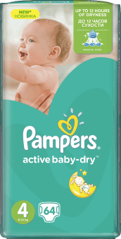 Pampers, Active Baby-Dry, pieluchy 4 Maxi, 8-14 kg, 64 szt., nr kat. 46653