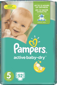 Pampers, Active Baby-Dry, pieluchy 5 Junior, 11-18 kg, 52 szt., nr kat. 46650