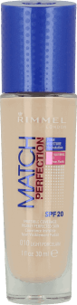 Rimmel, Match Perfection, podkład do twarzy, SPF 20, nr 010 light porcelain, 30 ml, nr kat. 219292