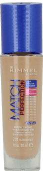 Rimmel, Match Perfection, podkład do twarzy, SPF 20, nr 201 classic beige, 30 ml, nr kat. 219297