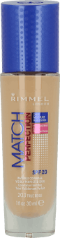 Rimmel, Match Perfection, podkład do twarzy, SPF 20, nr 203 true beige, 30 ml, nr kat. 229216