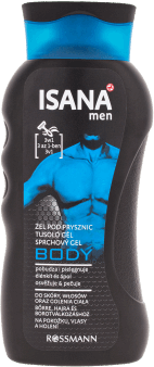 Isana Men,  żel pod prysznic, Body 3w1, 300 ml, nr kat. 218377