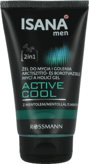 Isana Men, Active Cool, żel do mycia i golenia z mentolem, 150 ml, nr kat. 233742