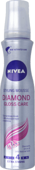 NIVEA, Diamond Gloss Care, pianka do włosów, extra strong, 150 ml, nr kat. 62226