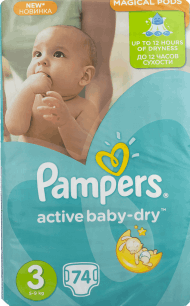 Pampers, Active Baby-Dry, pieluchy 3 Midi, 4-9 kg, 74 szt., nr kat. 46656