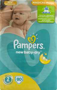 Pampers, New Baby-Dry, pieluchy 2 Mini, 3-6 kg, 80 szt., nr kat. 46642