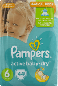 Pampers, Active Baby-Dry, pieluchy 6 Extra Large, 15+ kg, 44 szt., nr kat. 46649