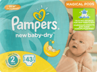 Pampers, New Baby-Dry, pieluchy 2 Mini, 3-6 kg, 43 szt., nr kat. 220986