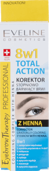 Eveline, Total Action, korektor stopniowo barwiący brwi Total Action 8w1 z henną, 10 ml, nr kat. 264383