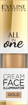 Eveline, All in One, kremowy rozświetlacz do twarzy, 02 Gold, 8 ml, nr kat. 268985