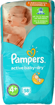Pampers, Active Baby-Dry, pieluchy, 4+, 9-16 kg, 58 szt., nr kat. 268556