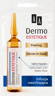 AA, Dermo Estetique, peeling + serum in mask, infuzja nawilżająca, 2x5 ml, nr kat. 270868