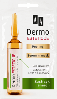AA, Dermo Estetique, peeling + serum in mask, zastrzyk energii, 2x5 ml, nr kat. 270876