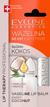 Eveline, Lip Therapy Professional, wazelina do ust w sztyfcie, słodki kokos,  3,8 g, nr kat. 276309