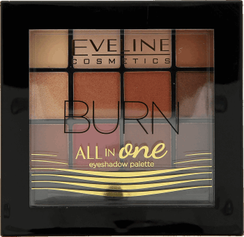 Eveline Cosmetics, All in one, paleta cieni do powiek, nr 3 BURN, 12 g, nr kat. 281688