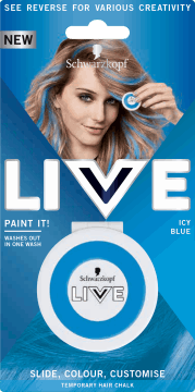 Schwarzkopf, Live Paint It!, zmywalna kreda do włosów, Icy Blue, 1 szt., nr kat. 281711