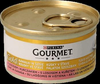 e2bba4a6b81ea2 GOURMET, Gold, mokra karma dla kotów kawałki łososia i kurczaka w ...