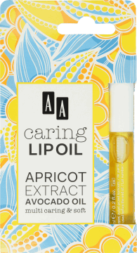 AA, Caring Lip Oil, olejek do ust, Apricot Extract Avocado Oil, 6 ml, nr kat. 258604
